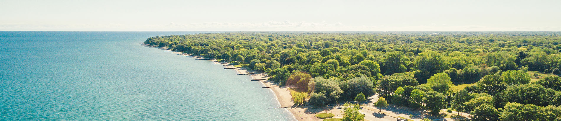 Aerial view of Lake Huron shoreline